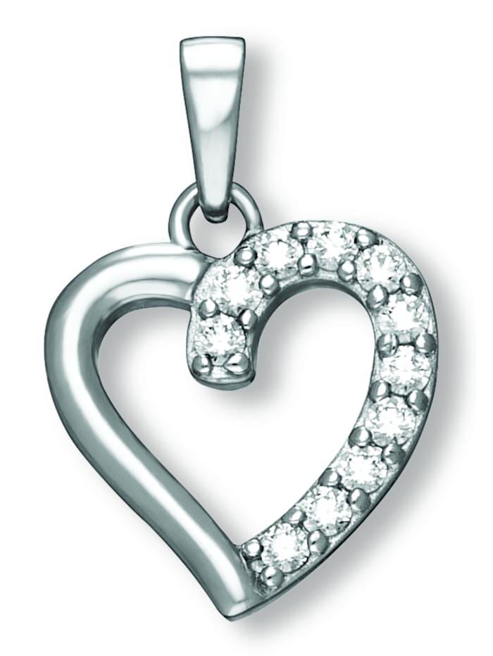 One Element Damen Schmuck Herz Anhänger aus 925 Silber Zirkonia, silber