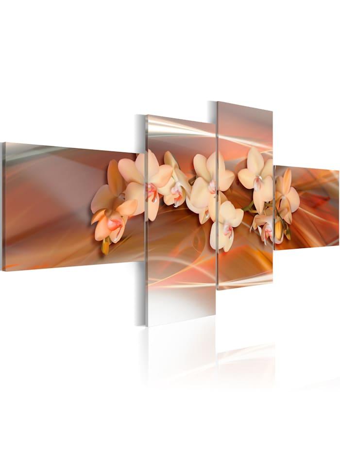 artgeist Wandbild Weiße Orchidee am herbstlichen Hintergrund, brown,cream,orange,white,grey