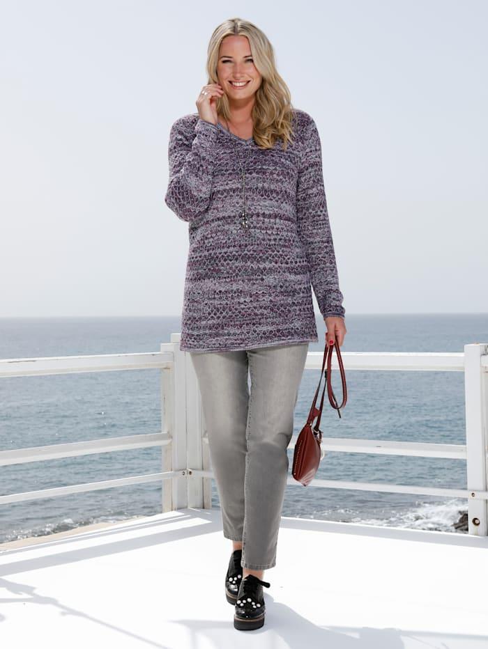 MIAMODA Pullover aus effektvollem Melangegarn, Grün/Marineblau/Pink