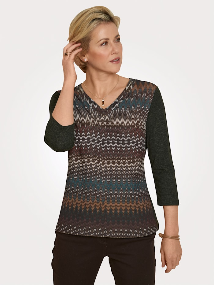 MONA Shirt mit farbharmonischem Grafikdruck, Braun/Petrol/Ockergelb