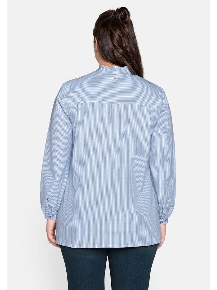 Bluse mit Stehkragen und gewebten Streifen