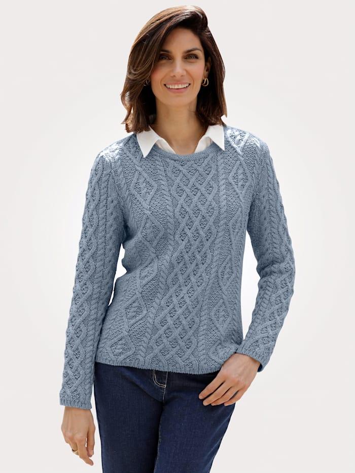 MONA Pullover mit Strickmuster, Blau