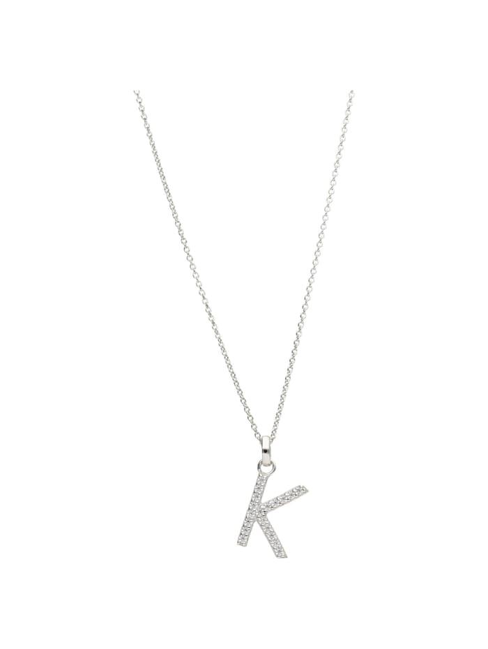 Smart Jewel Kette Buchstabe K mit Zirkonia Steine, Silber 925, Silber