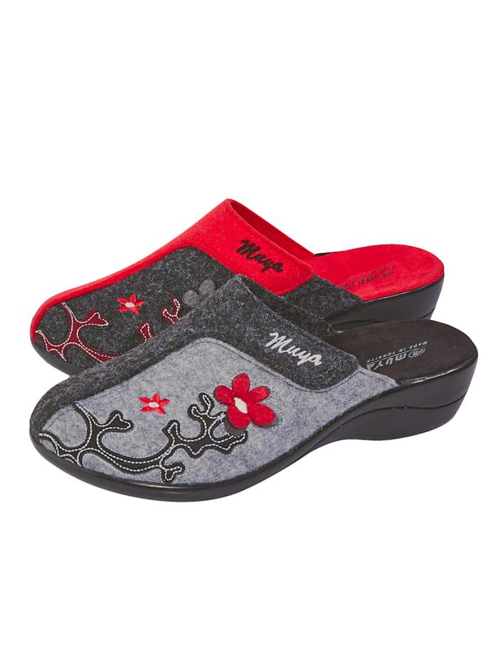 Belafit Pantoffeln im 2-er Pack, Rot/Grau