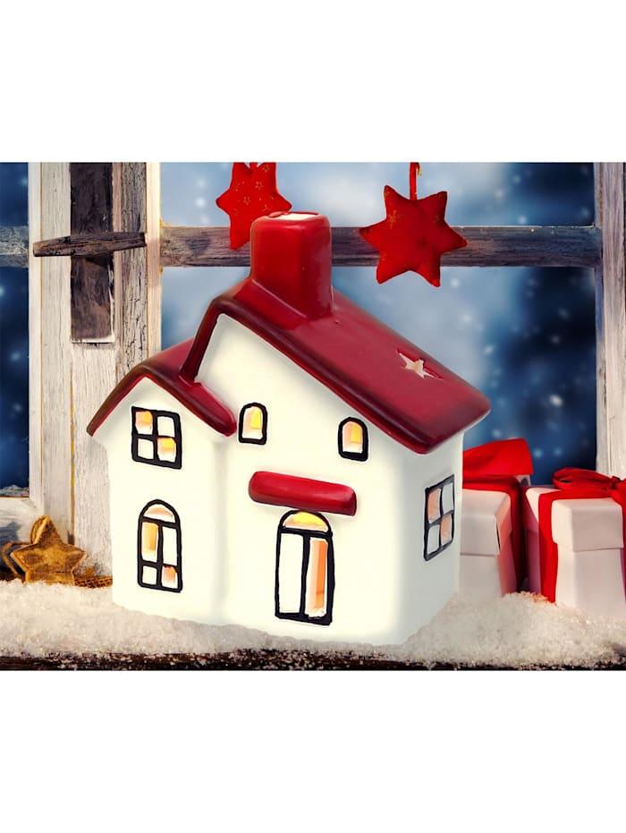 Sigro Windlichthaus weiß-rot glasiert, Weiß, Rot