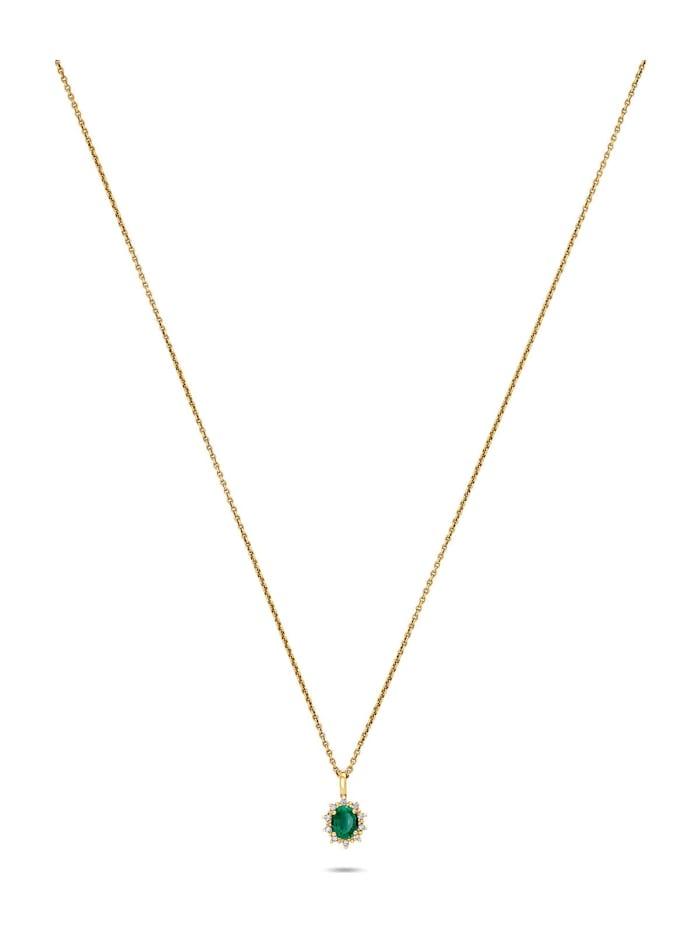 CHRIST GOLD CHRIST Gold Damen-Kette 585er Gelbgold 1 Smaragd, gelbgold