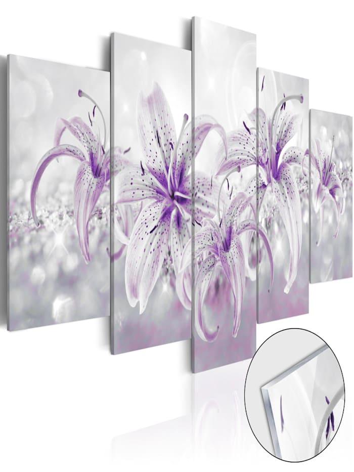artgeist Acrylglasbild Purple Graces [Glass], Grau,Violett,Weiß