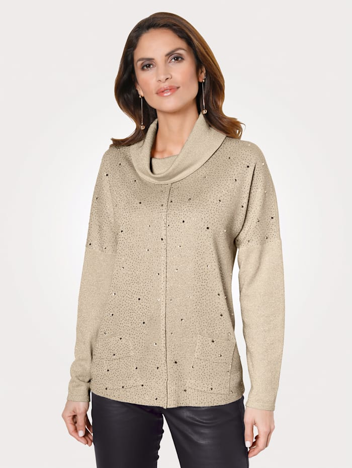 MONA Pullover mit Strasssteinen, Beige/Goldfarben