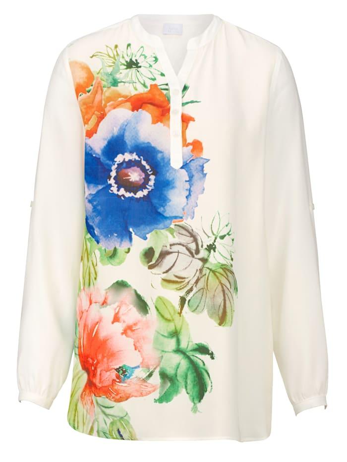 Alba Moda Bluse mit seitlichem Druck, Weiß