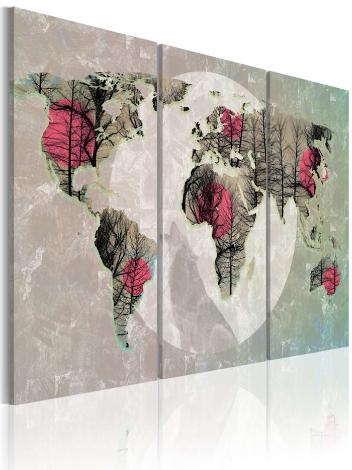 artgeist Wandbild Weltkarte: Vollmond - Triptychon, Türkis,Grau,Creme