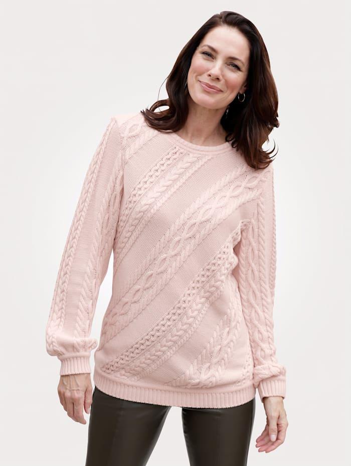 MONA Pullover mit attraktivem Zopfmuster, Rosé