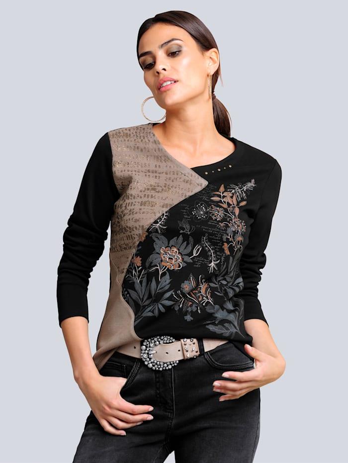 Alba Moda Shirt im Vorderteil in modischer Patchoptik, Schwarz/Sand