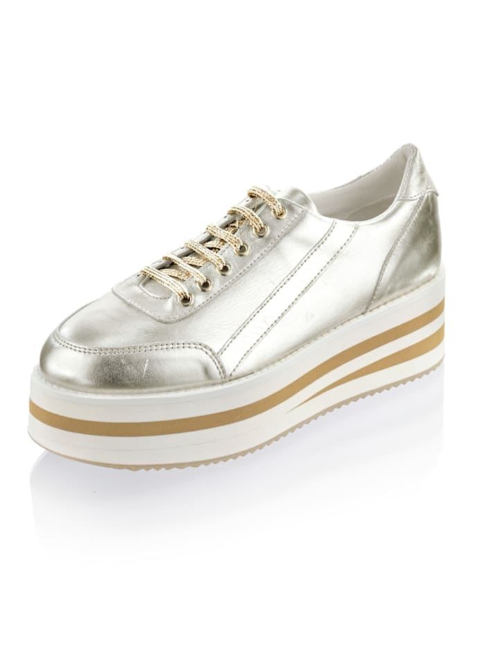 Alba Moda Sneaker mit modisch hoher Plateausohle, Goldfarben