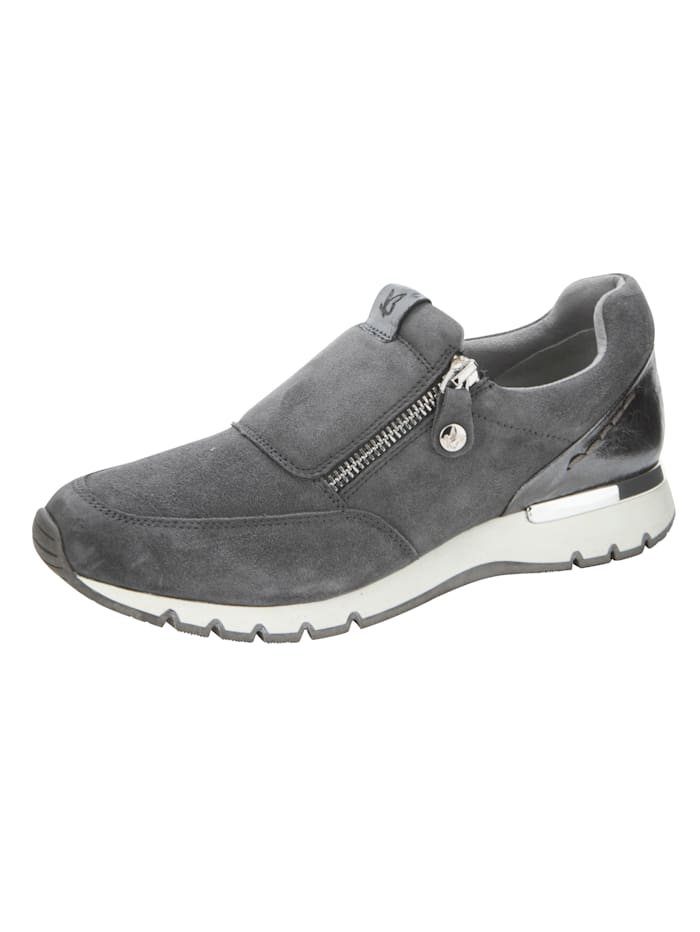 Caprice Sneaker aus feinem Ziegenveloursleder, Grau