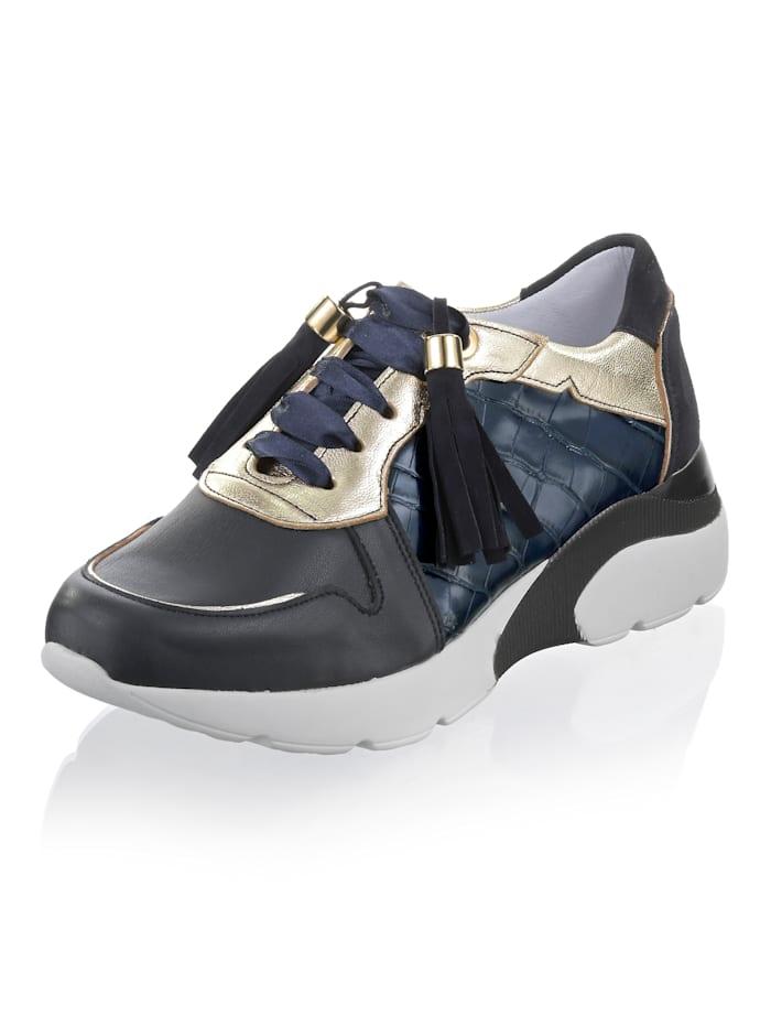Alba Moda Sneaker aus Ziegenleder, Marineblau