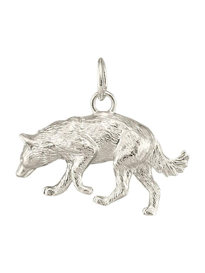 Diemer Gold Hanger Wolf van echt zilver, Zilverkleur