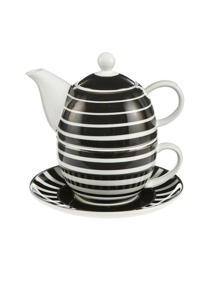 """Goebel Goebel Tea for One Maja von Hohenzollern - Design """"Stripes"""", schwarz-weiß"""