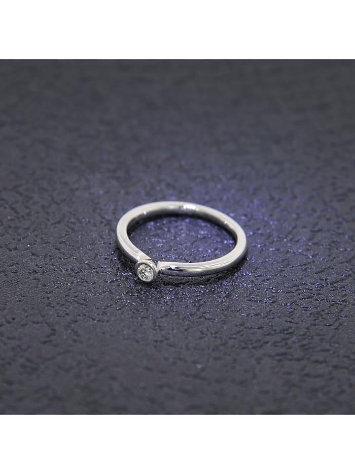 Damenring 585 Weißgold mit Brillant 0,10 Karat Verlobungsring