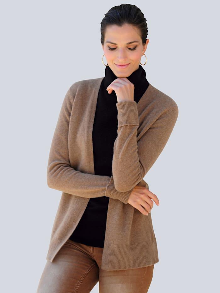 Alba Moda Strickjacke aus hochwertiger reiner Kaschmirware, Braun