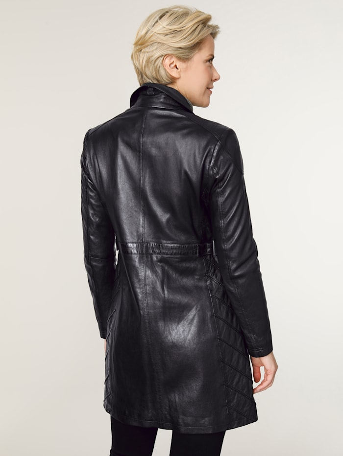 Leather jacket with signature tailoring