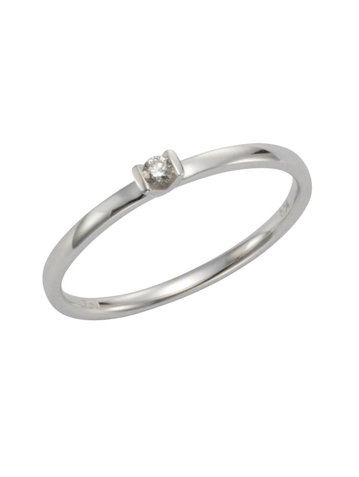Ring 750/- Gold Brillant weiß Brillant Glänzend 0.04 Karat 750/- Gold