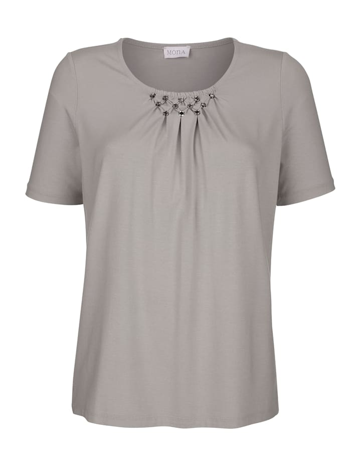 Top with embellished neckline