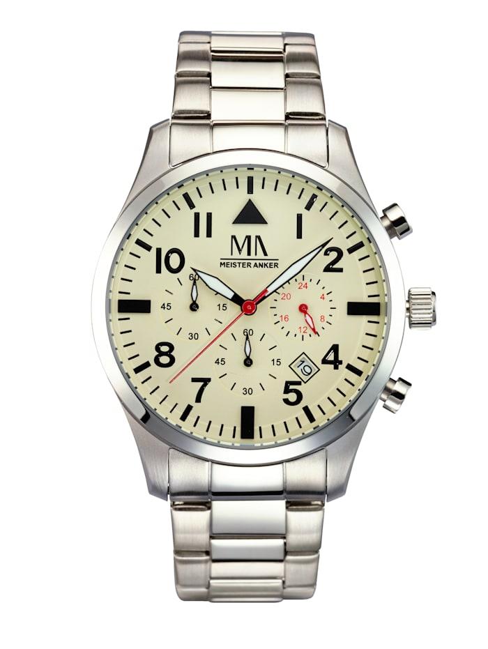 Meister Anker Herren-Chronograph Uhr, Silberfarben
