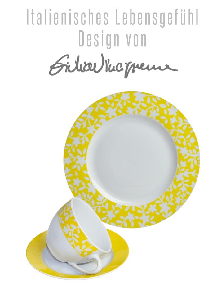 Kaffeservise, mønstret, gul