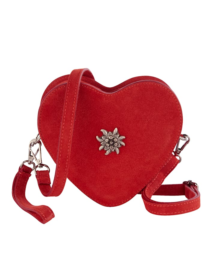 Sara Lindholm Trachtentasche mit Edelweißapplikation, rot
