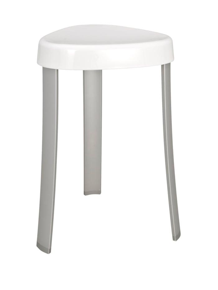 Wenko Hocker Corrente Weiß, Badhocker, Sitzfläche: Weiß, Beine: Aluminium, Füße: Grau