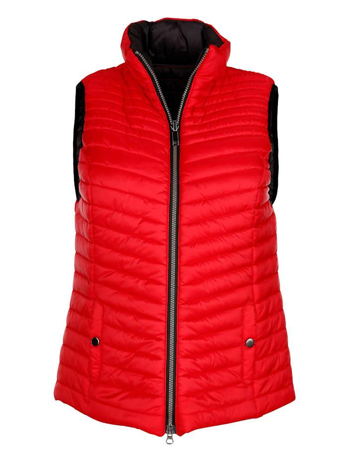 MONA Keerbare bodywarmer, Rood/Zwart