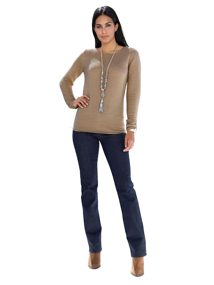 Pullover mit Glanzgarn und Strukturstrick