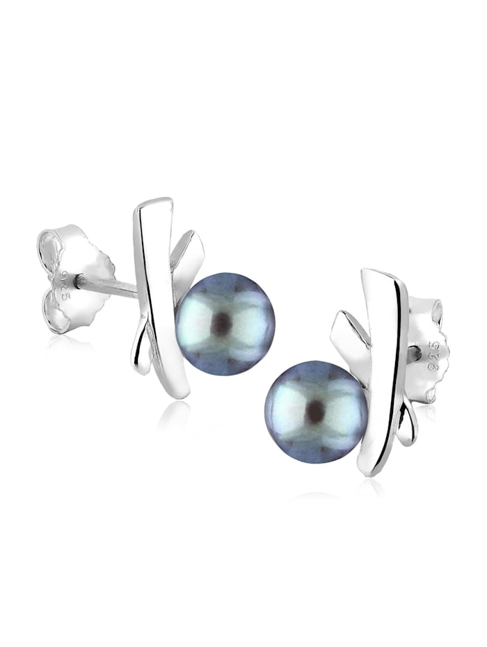 Elli Ohrringe Kreuz Süßwasserzuchtperlen Elegant Stilvoll Silber, Grau
