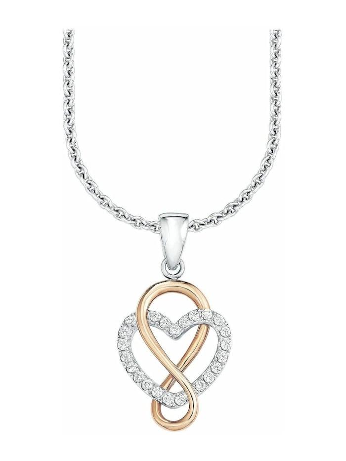 s.Oliver Kette mit Anhänger für Damen, Sterling Silber 925, Zirkonia Herz, Gold