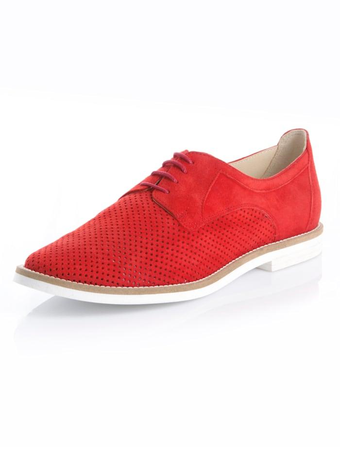 Alba Moda Šnurovacia obuv z kozej velúrovej kože, Červená