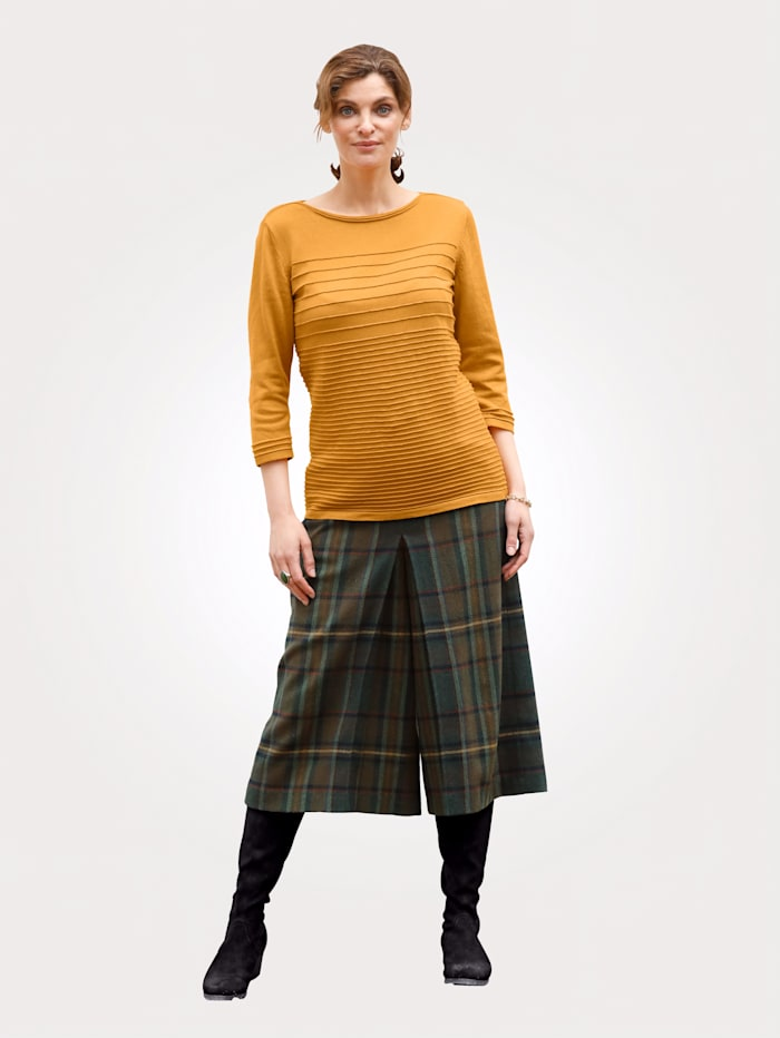 MONA Culottes with a classic check pattern, Green/Yellow