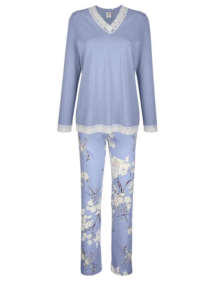Ringella Pyjama avec dentelle, Bleu fumée/Blanc/Aubergine