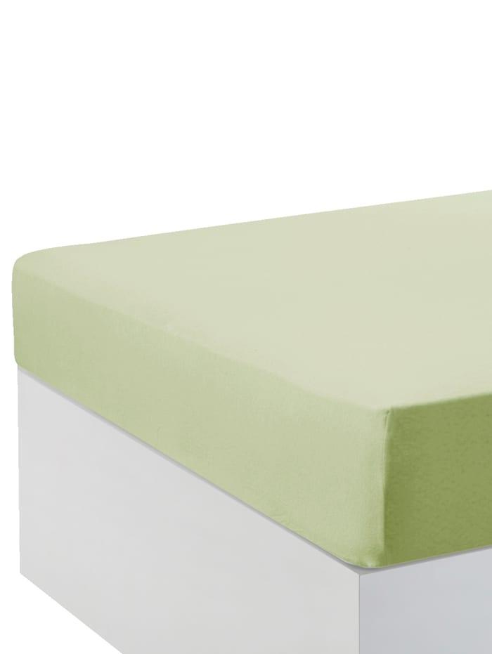 Webschatz Baumwoll-Jersey Spannbettlaken, Größe 90x200 + 100x200 im 2er-Pack, lindgrün