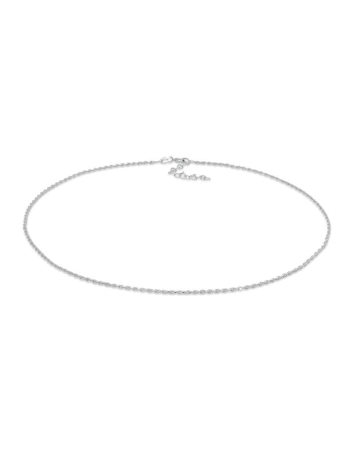 Elli Halskette Choker Gedreht Kordel Twist 925 Silber, Silber