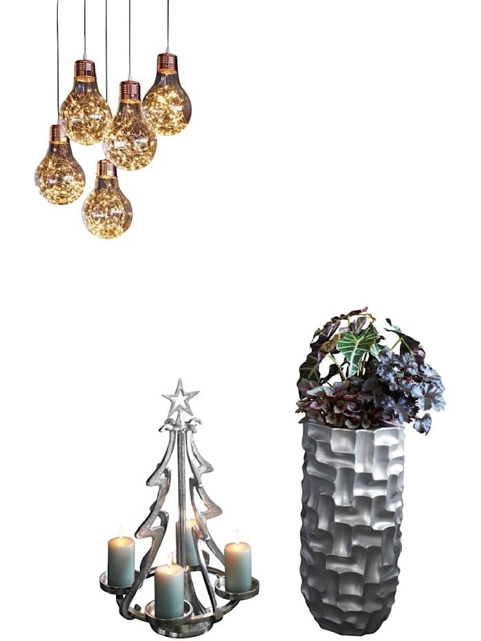 Living Advent-Kerzenhalter, Silberfarben