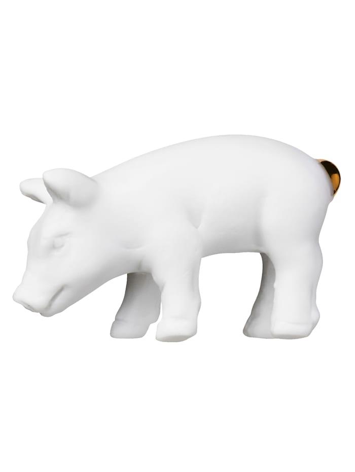 räder Glücksschwein mit Holzbox, weiß