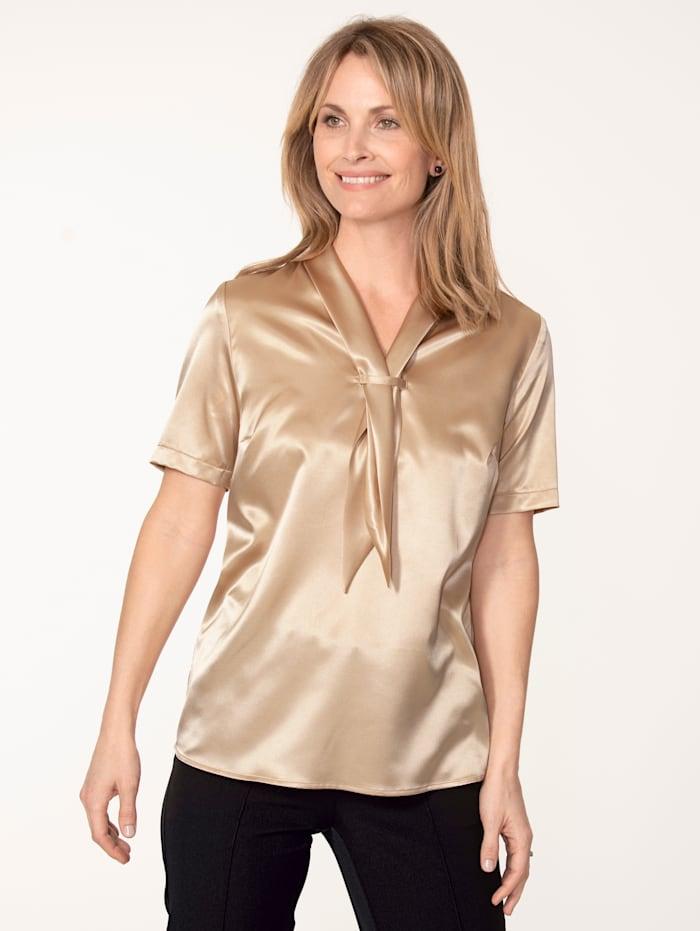MONA Bluse aus elastischem Satin, Goldfarben