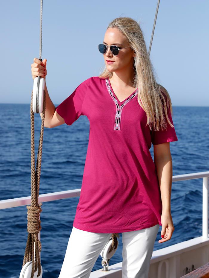 MIAMODA Shirt met borduursel langs de hals, Pink