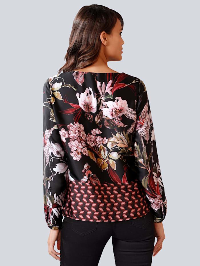 Bluse mit ausdrucksstarkem Muster-Mix