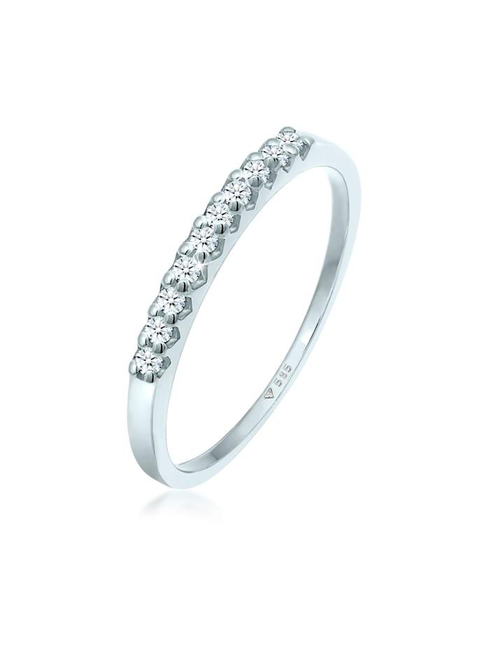 DIAMORE Ring Memoire Verlobung Diamant (0.15 Ct.) 585 Weißgold, Weiß