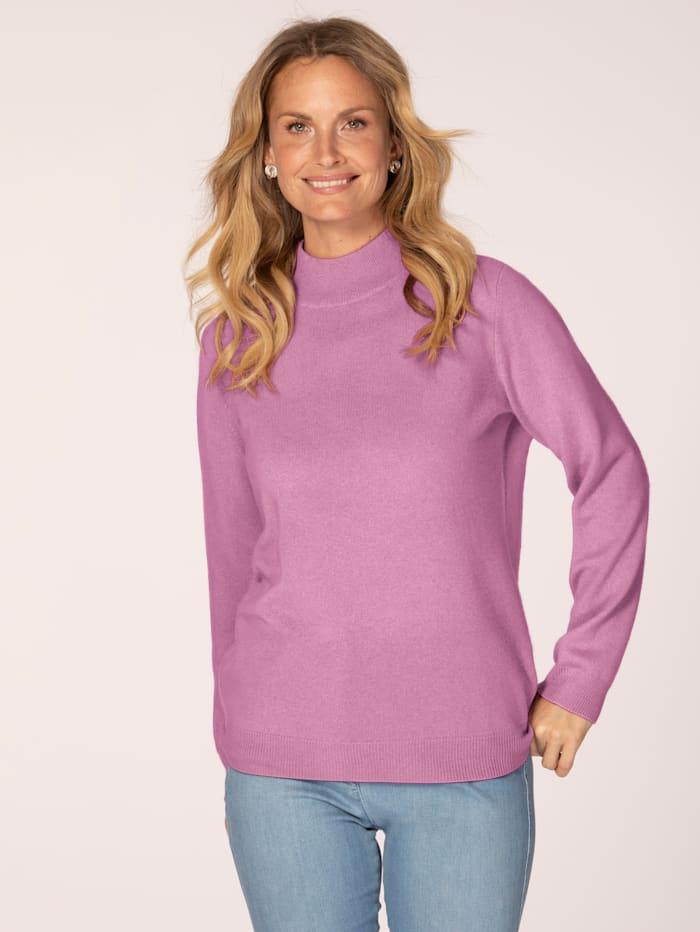 MONA Kaschmir-Pullover mit Stehkragen, Rosé