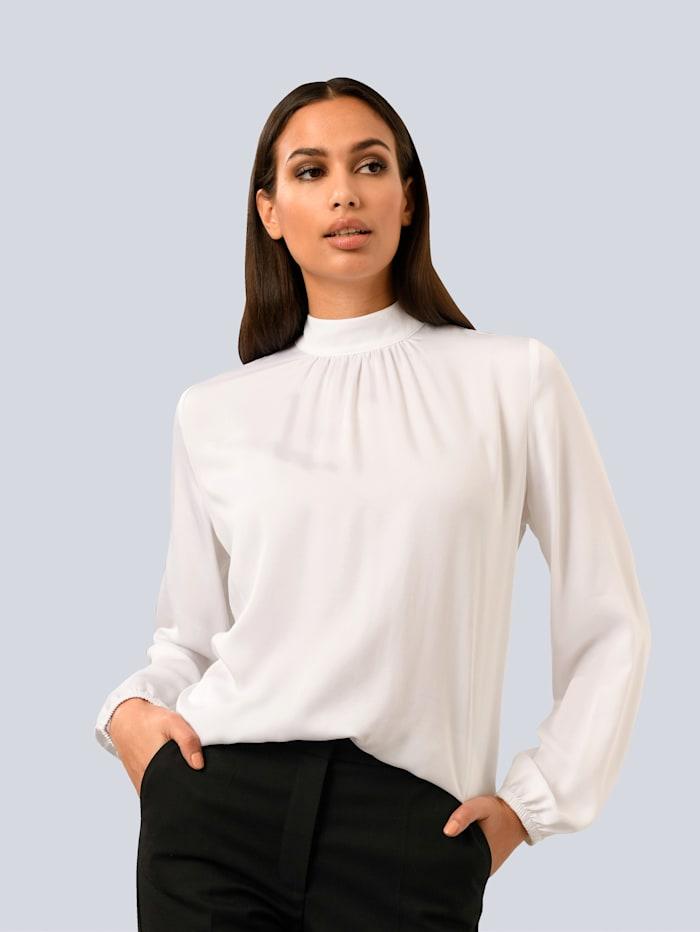Alba Moda Bluse mit Raffung am Kragen, Weiß