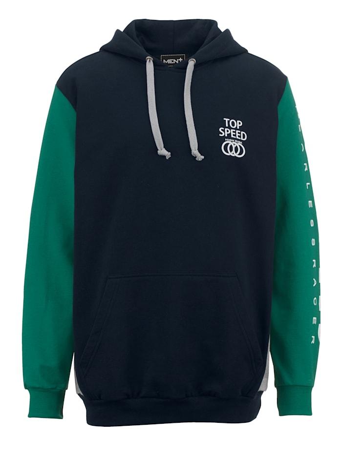 Men Plus Sweatshirt van zuiver katoen, Marine/Groen/Lichtgrijs