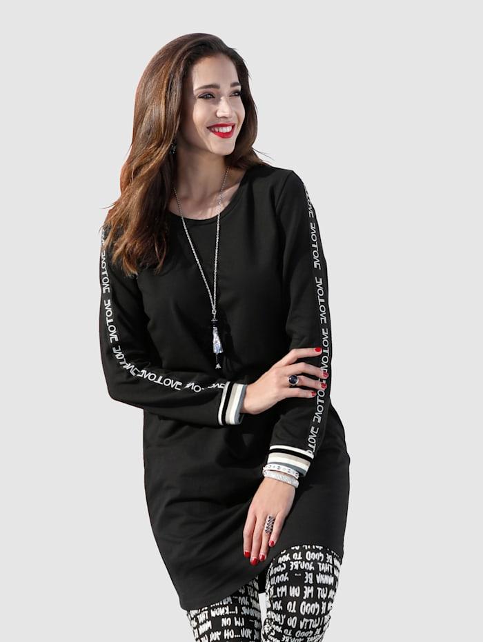 MIAMODA T-shirt long avec passepoil décoratif aux manches, Noir