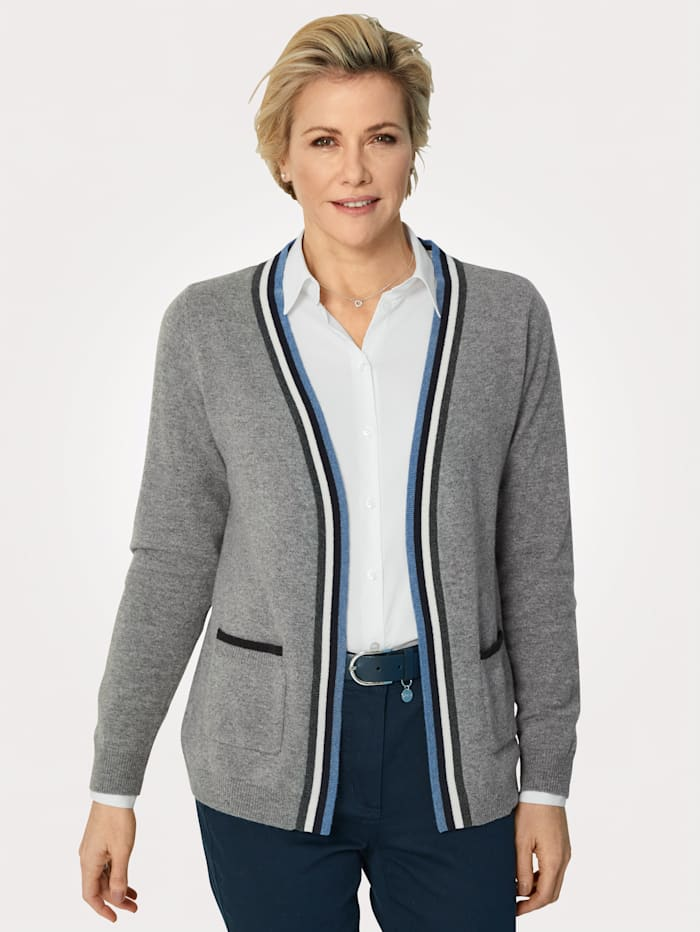 MONA Cardigan made from pure cashmere, Light Blue/Navy/Ivory